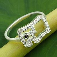 White topaz and black spinel cocktail ring, 'Elephant Bling' - White Topaz and Black Spinel Thai Elephant Ring