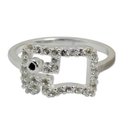 White Topaz and Black Spinel Thai Elephant Ring