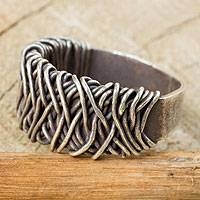 Sterling silver ring, 'Wide Spindle' - Sterling Silver Band Ring with Interwoven Metal Strands