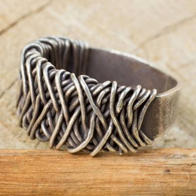 Sterling Silver Band Ring with Interwoven Metal Strands