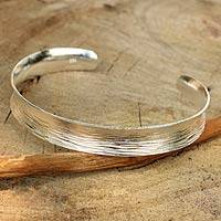 Sterling silver cuff bracelet, 'Luminosity' - Sterling Silver Cuff