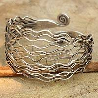 Sterling silver cuff bracelet, 'Ocean Currents' - Modern Sterling Cuff from Thailand