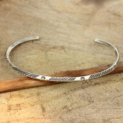 Sterling silver cuff bracelet, 'Karen Legacy' - Sterling Silver Hill Tribe Cuff