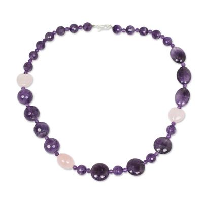 Amethyst and Rose Quartz Handmade Necklace