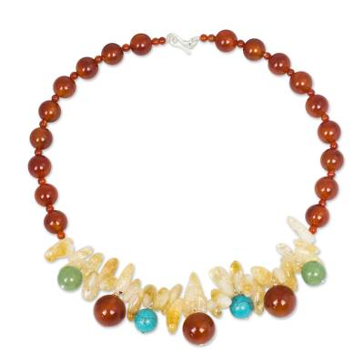 Handmade Carnelian Necklace with Citrine