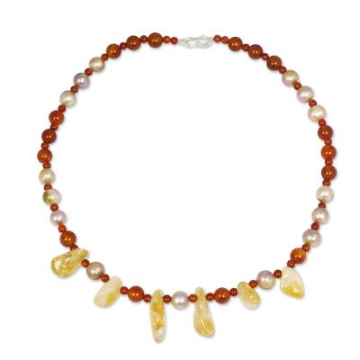 Carnelian Necklace with Citrine and Cultured Pearls