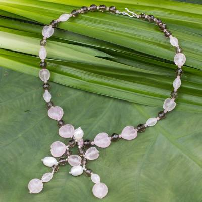 Rose quartz pendant necklace, 'Sweetheart' - Rose Quartz Necklace with Smoky Quartz and Cultured Pearls