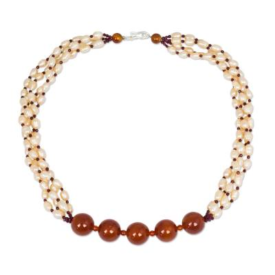 Cultured Pearl Necklace with Garnet and Carnelian