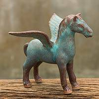 Celadon ceramic figurine, 'Antiqued Green Pegasus' - Antiqued Green Celadon Winged Horse Figurine