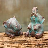 Celadon ceramic statuettes, 'Antiqued Happy Elephants' (pair) - Thai Celadon Ceramic Sculptures (pair)