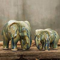 Celadon ceramic statuettes, 'Lovely Family in Blue Brown' (pair) - Elephant Celadon Ceramic Sculptures (pair)
