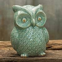 Celadon ceramic statuette, 'Light Green Wise Owl' - Handcrafted Glazed Celadon Ceramic Owl Statuette