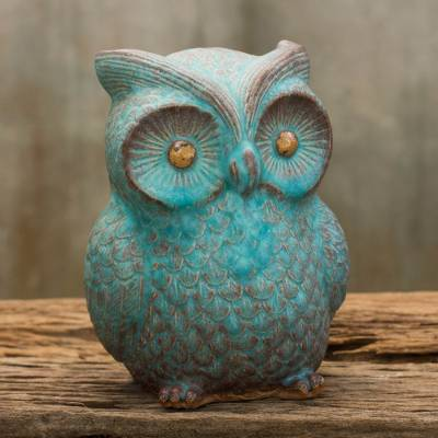 Ceramic statuette, 'Turquoise Blue Wise Owl' - Handcrafted Ceramic Owl Statuette