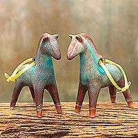 Celadon ceramic ornaments, 'Horses of Winter' (pair) - Antiqued Celadon Ceramic Christmas Ornaments (Pair)