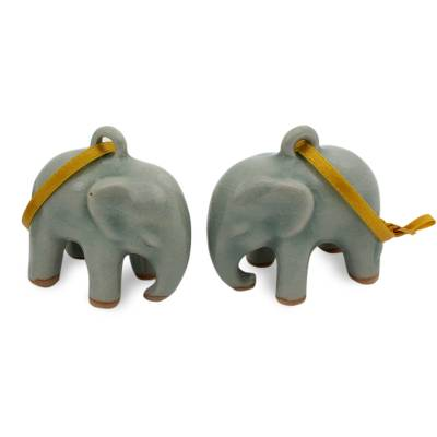 Celadon ceramic ornaments, 'Light Blue Elephant' (pair) - Crackled Green Celadon Ceramic Ornaments (Pair)