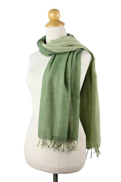 Cotton reversible scarf, 'Jade Green Duet' - 2-in-1 Hand-woven Cotton Reversible Scarf
