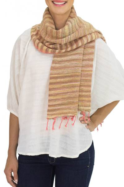 Cotton scarf, 'Rosewood Breeze' - Pink and Brown Hand-woven Cotton Scarf