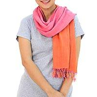 Cotton reversible scarf, 'Orange Pink Duet' - 2-in-1 Hand-woven Cotton Reversible Scarf