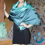 Artisan Crafted Silk Shawl, 'Shimmering Green'