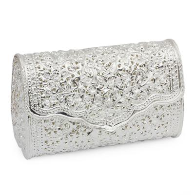 Floral Silver Clutch Purse