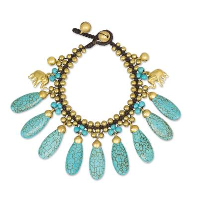 Brass Beaded Turquoise Colored Elephant Bracelet