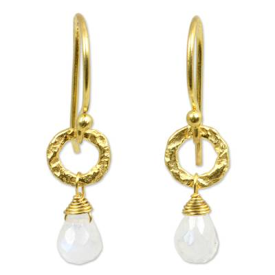 Gold plated moonstone dangle earrings, 'Dewy Suns' - Fair Trade Gold Plated Earrings with Moonstone