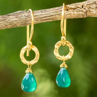 Gold plated dangle earrings, 'Verdant Suns' - Artisan Crafted Gold Plated and Green Onyx Dangle Earrings