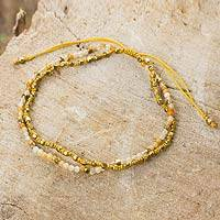 Jasper and 24k gold plated beaded bracelet, 'Warm Breeze' - Yellow Jasper Macrame Beaded Bracelet with 24k Gold Plate