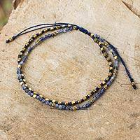 Sodalite and 24k gold plate beaded bracelet, 'Ocean Breeze' - Hand Beaded Bracelet with Sodalite and 24k Gold Plate