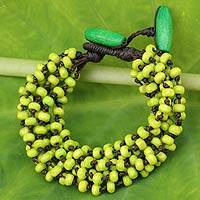 Wood beaded bracelet, 'Chartreuse' - Yellow Green Hand Knotted Beaded Bracelet