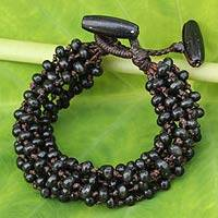 Wood beaded bracelet, 'Night Shadows' - Black Hand Knotted Beaded Bracelet