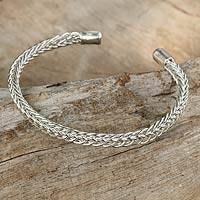 Sterling silver cuff bracelet, 'Woven Wheat' - Thai Braided Sterling Cuff Bracelet