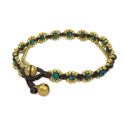 Hand Knotted Beaded Bracelet with Serpentine and Brass Bells