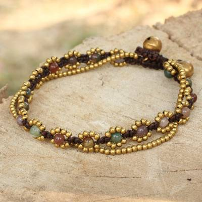Jasper beaded bracelet, 'Festive Day' - Hand Knotted Jasper Beaded Bracelet with Brass Bell