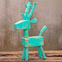 Wood sculpture, 'Turquoise Reindeer' - Naif Turquoise Reindeer Wood Sculpture from Thailand