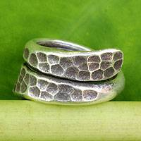 Sterling silver wrap ring, 'Written in Stone' - Thai Handmade Sterling Silver Wrap Ring