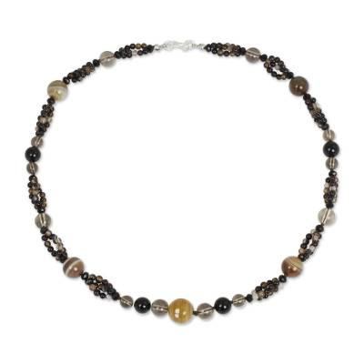 Hand Beaded Smoky Quartz Onyx and Agate Necklace