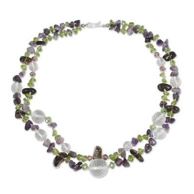 Artisan Crafted Peridot Quartz and Amethyst Necklace