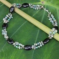 Labradorite and onyx beaded necklace, 'Seashore Evening' - Beaded Necklace with Labradorite Onyx and Quartz Stones
