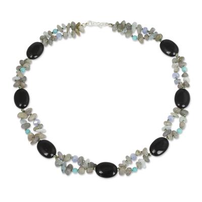 Beaded Necklace with Labradorite Onyx and Quartz Stones