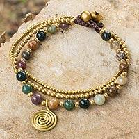 Jasper beaded bracelet, 'Harmonious Blend' - Thai Beaded Jasper and Brass Bracelet