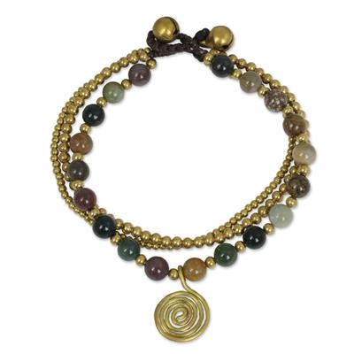 Thai Beaded Jasper and Brass Bracelet