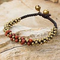 Jasper and brass beaded bracelet, 'Red Helix' (Thailand)