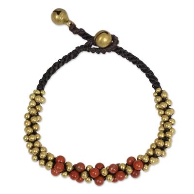 Red Jasper and Brass Beaded Bracelet from Thailand