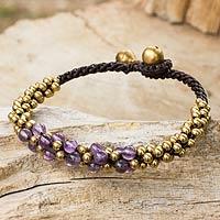 Amethyst and brass beaded bracelet,