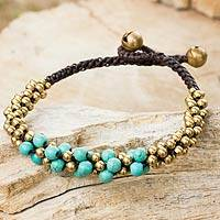 Calcite and brass beaded bracelet, 'Aqua Helix' - Turquoise Colored Thai Beaded Bracelet with Brass