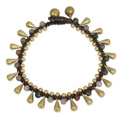 Colorful Jasper and Brass Bracelet from Thailand