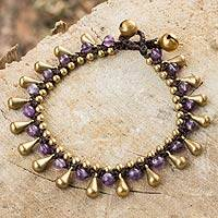 Amethyst and brass beaded bracelet,