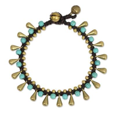 Blue Calcite and Brass Beaded Bracelet from Thailand