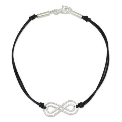 Sterling Silver and Black Leather Bracelet from Thailand